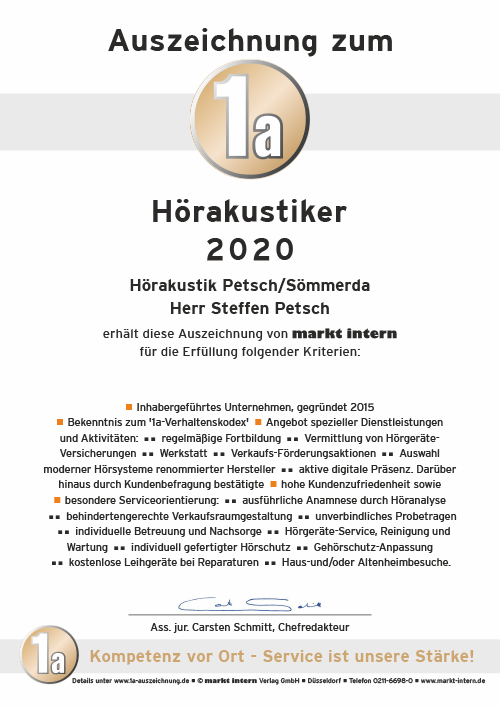 Hörakustik Petsch - Auszeichnung zum 1a Hörakustiker 2020