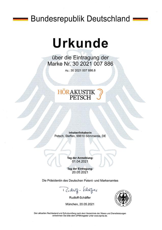 Urkunde Patent- und Markenamt - Hörakustik Petsch - Logo orange schwarz