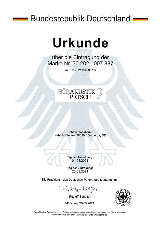 Urkunde Patent- und Markenamt - Hörakustik Petsch - Logo schwarz weiß
